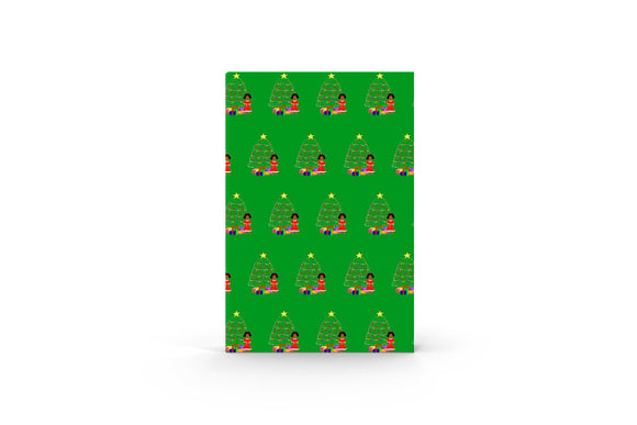 READY SHIP Christmas Tree Girl Gift Wrap-3 Sheet Pack