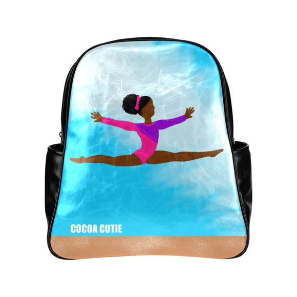 QUICK SHIP-GIRLS GYMNAST YANNA FAUX LEATHER BACKPACK-DARK SKIN