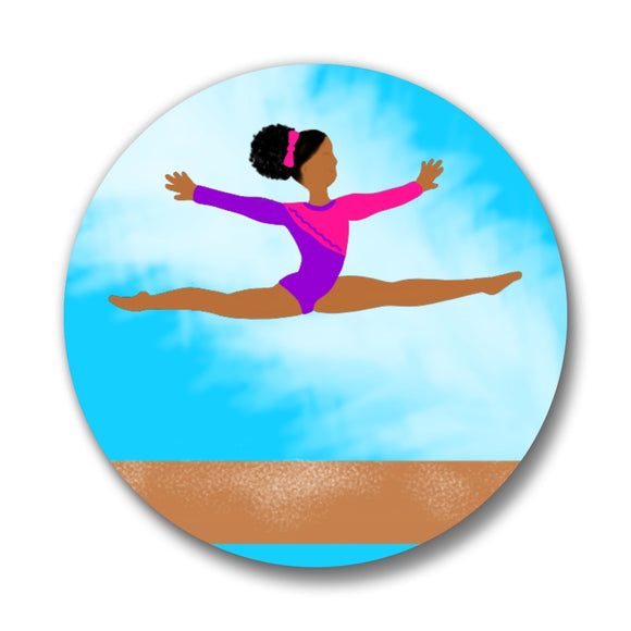 Gymnastics & Cheer Cocoa Cutie Bows Pin-Back Buttons(Four Designs)