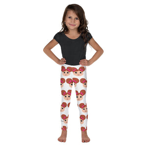 Afro Puffs and Pink Bows Chantal Kid's Leggings Cocoa Cutie