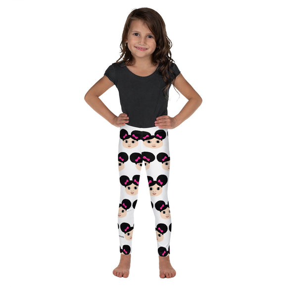 Afro Puffs and Pink Bows Mackenzie Kid's Leggings Cocoa Cutie