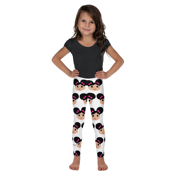 Afro Puffs and Pink Bows Kiara Kid's Leggings Cocoa Cutie