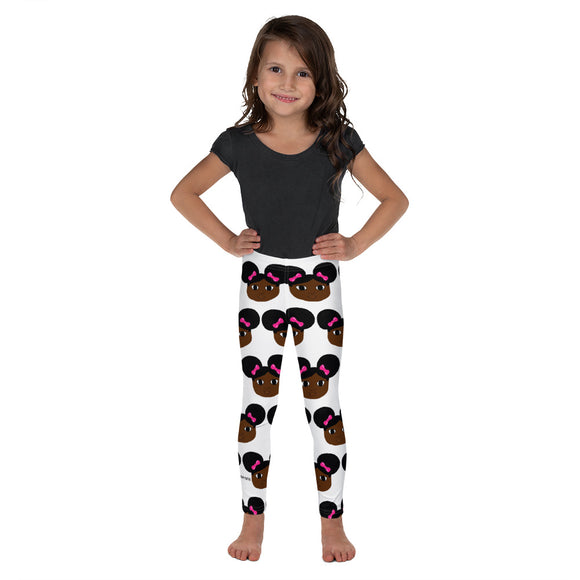 Afro Puffs and Pink Bows Yanna Kid's Leggings Cocoa Cutie