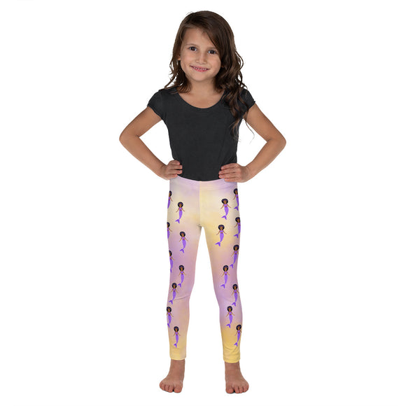 Purple Mermaid Jordyn Cocoa Cutie Kid's Leggings