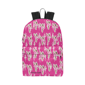 QUICK SHIP GIRLS PINK BALLERINA LARGE CAPACITY CANVAS BACKPACK-DARK SKIN