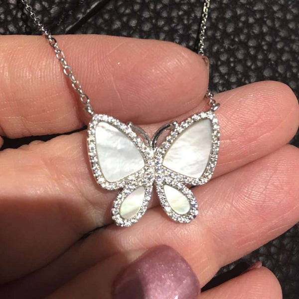 Mother of pearl butterfly necklace Silver Itsallagift