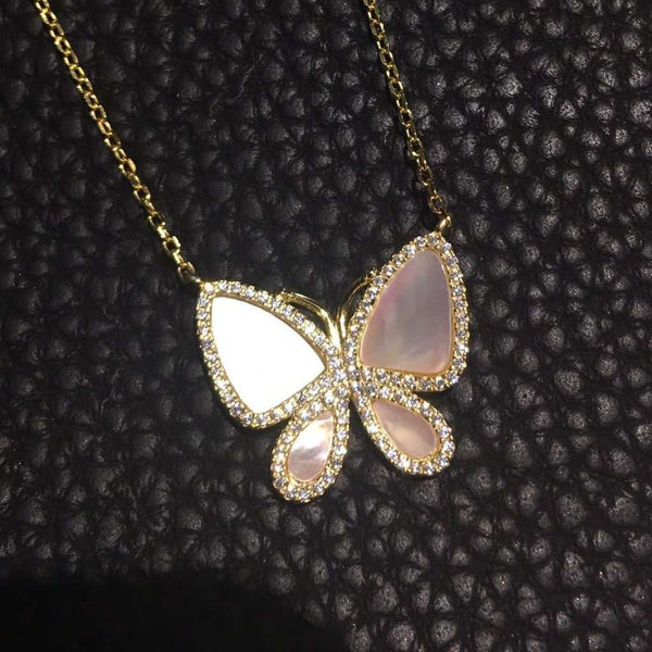 Mother of pearl butterfly necklace Gold Itsallagift