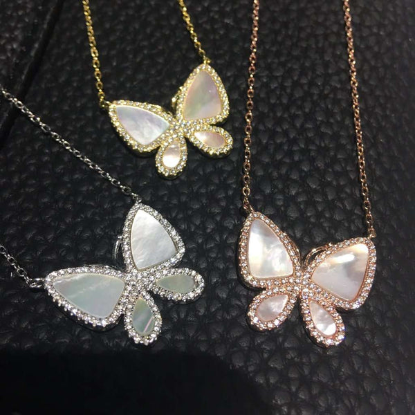 Mother of pearl butterfly necklace Rose Gold Itsallagift