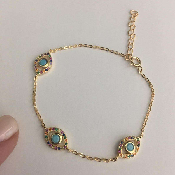 Italian Eye Bracelet - Multiple Color Options Available Turquoise Itsallagift