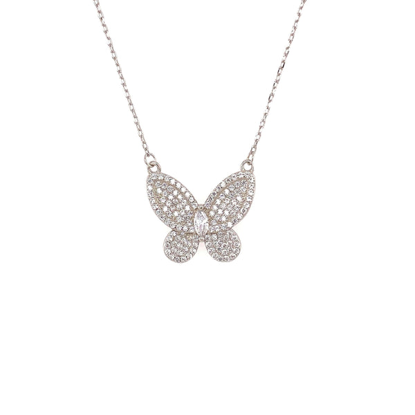 Butterfly Necklace With Pave CZ Stones And Marquee Center Accent - 3 Colors Available! Silver Itsallagift