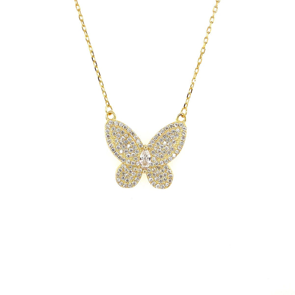Butterfly Necklace With Pave CZ Stones And Marquee Center Accent - 3 Colors Available! Gold Itsallagift