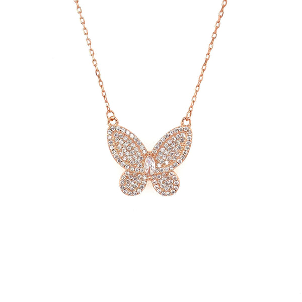 Butterfly Necklace With Pave CZ Stones And Marquee Center Accent - 3 Colors Available! Rose Gold Itsallagift