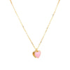 Double Hanging Pink Heart Enamel Necklace Gold Itsallagift