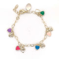 "Double Puffy Heart Charm Bracelet 4"" / Multi Color Itsallagift"