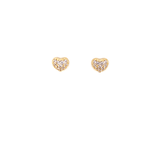 Gold Heart Stud Earrings With CZ Stones And Screw Back Post - 3 Colors Available! White Itsallagift