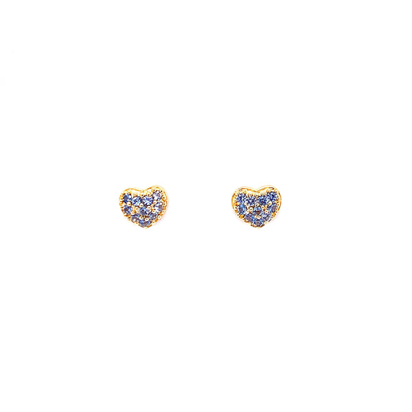 Gold Heart Stud Earrings With CZ Stones And Screw Back Post - 3 Colors Available! Blue Itsallagift