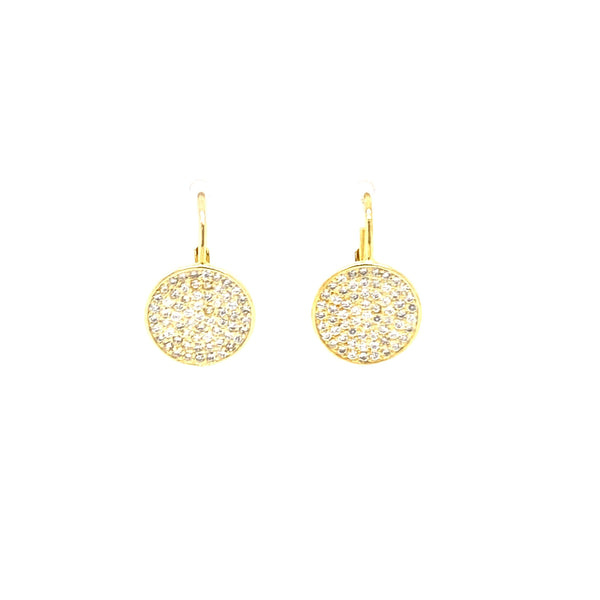 Hanging Earrings With Pave Circle Design - 2 Colors Available! Itsallagift