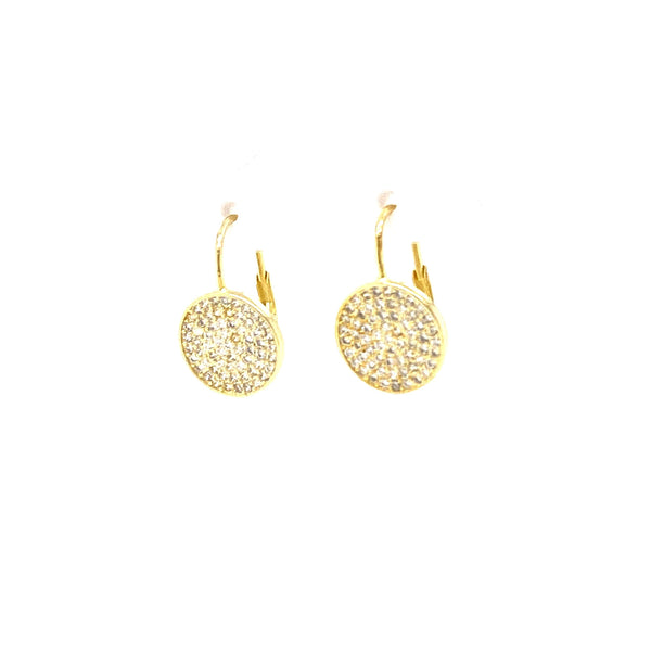 Hanging Earrings With Pave Circle Design - 2 Colors Available! Gold Itsallagift