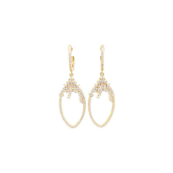 Hanging Teardrop Styled Earrings With CZ Stones Gold Itsallagift