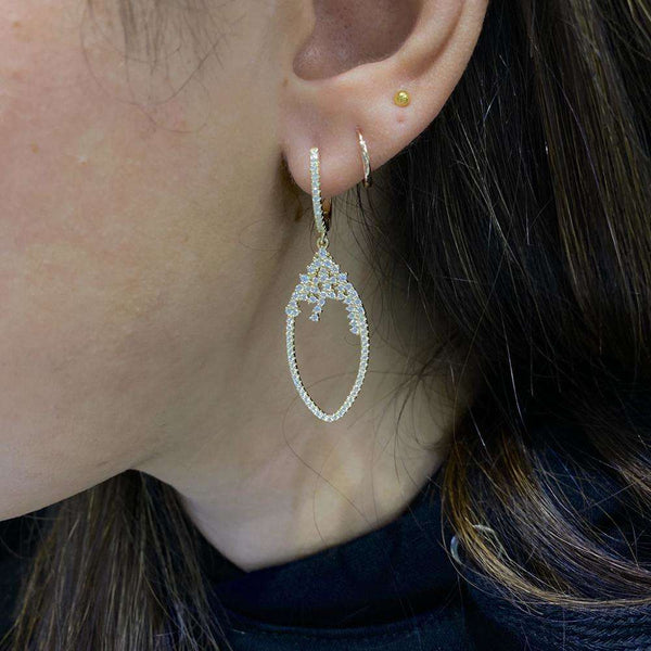 Hanging Teardrop Styled Earrings With CZ Stones Itsallagift