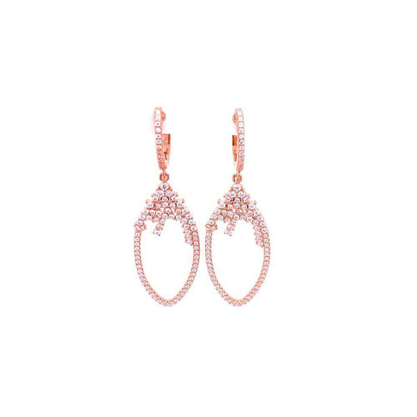 Hanging Teardrop Styled Earrings With CZ Stones Rose Gold Itsallagift
