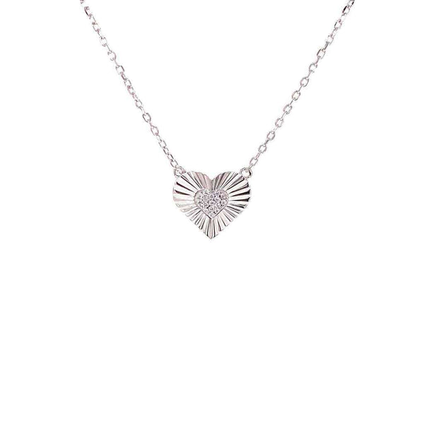 Heart Necklace With CZ Center Heart Pendant - 3 Colors Available! Silver Itsallagift