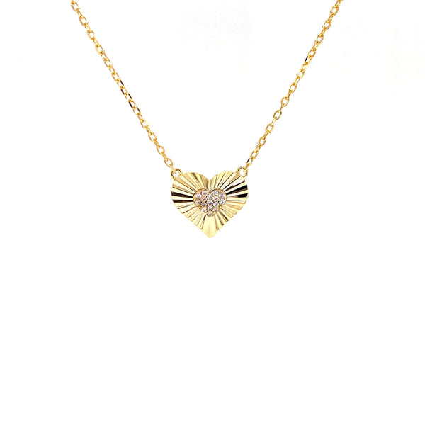 Heart Necklace With CZ Center Heart Pendant - 3 Colors Available! Gold Itsallagift