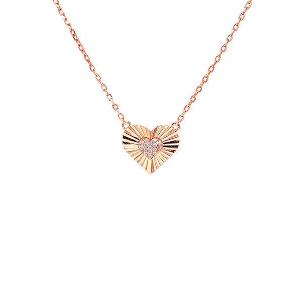 Heart Necklace With CZ Center Heart Pendant - 3 Colors Available! Rose Gold Itsallagift
