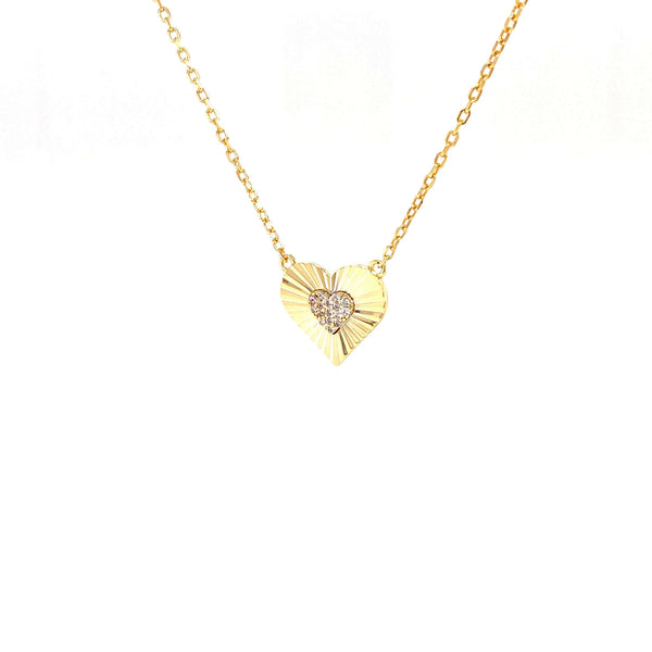 Heart Necklace With CZ Center Heart Pendant - 3 Colors Available! Itsallagift