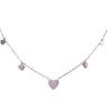 Heart Pave Necklace with Hearts on the side Itsallagift