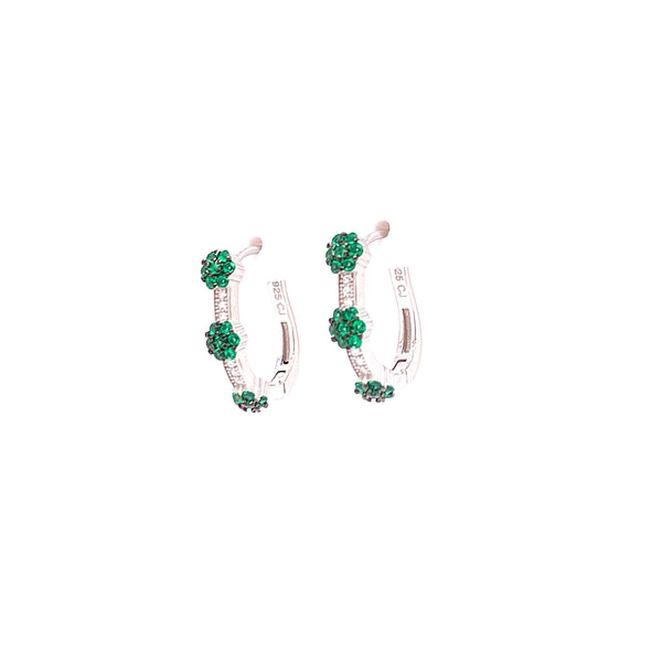 Hoop Earrings With 3 CZ Stone Clusters With White CZ Stones - 4 Options available! Silver / Emerald Itsallagift