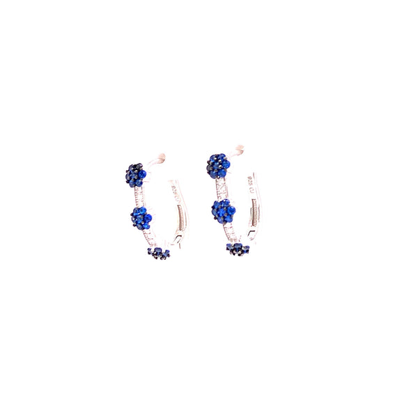 Hoop Earrings With 3 CZ Stone Clusters With White CZ Stones - 4 Options available! Silver / Sapphire Itsallagift
