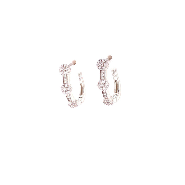 Hoop Earrings With 3 CZ Stone Clusters With White CZ Stones - 4 Options available! Silver / White Itsallagift