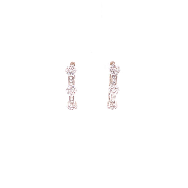 Hoop Earrings With 3 CZ Stone Clusters With White CZ Stones - 4 Options available! Itsallagift