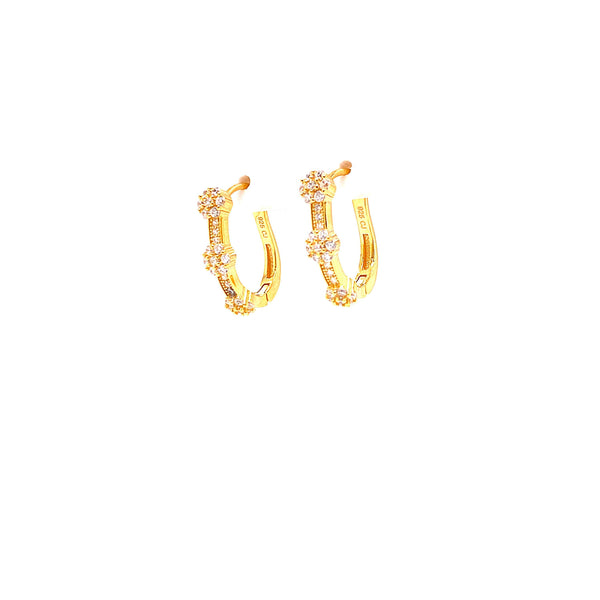 Hoop Earrings With 3 CZ Stone Clusters With White CZ Stones - 4 Options available! Gold / White Itsallagift