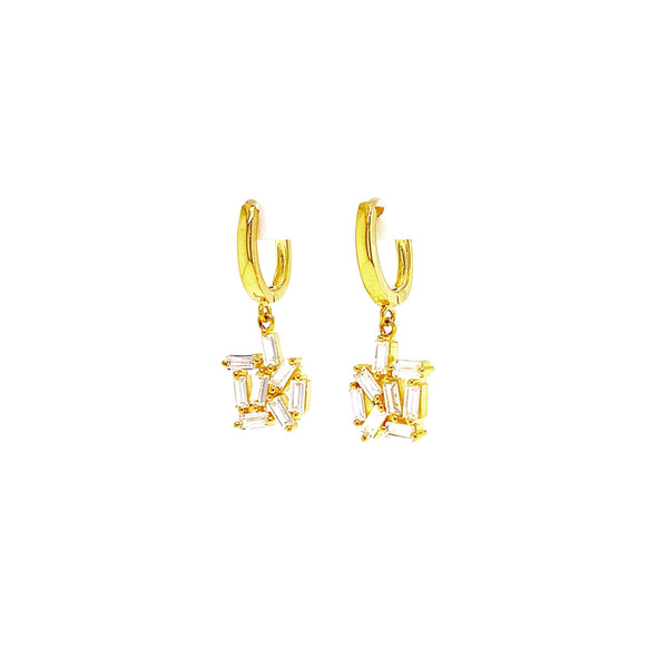 Huggie Earrings With Dangling Abstract Baguette Hanging Design Gold Itsallagift