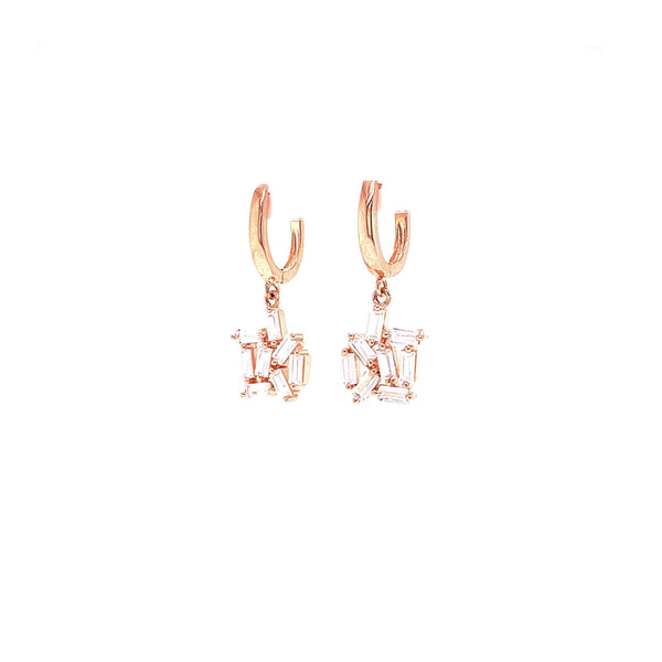 Huggie Earrings With Dangling Abstract Baguette Hanging Design Rose Gold Itsallagift
