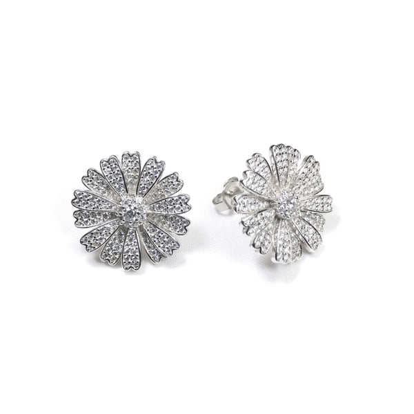 Pave Flower Petal Earrings Itsallagift