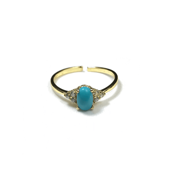 Adjustable Ring with Turquoise Center Stone With CZ Stones Itsallagift