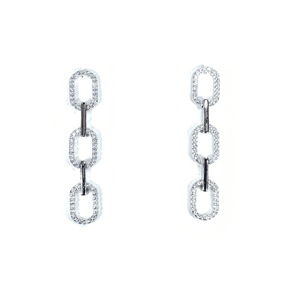 Link Styled Earrings With Pave' Accent Silver Itsallagift