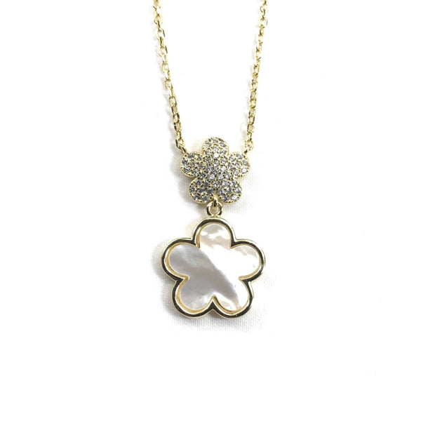 Small CZ Flower With Mother Of Pearl Flower Necklace Gold Itsallagift