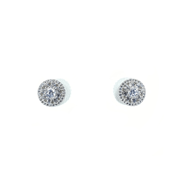 Flower Cluster Earring Studs With CZ Halo Silver Itsallagift