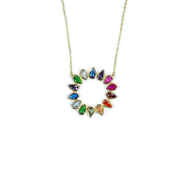 Sunburst Teardrop Necklace With Rainbow CZ Stones Itsallagift