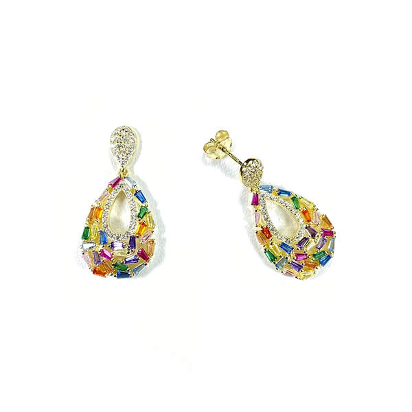 Teardrop Earrings With Rainbow Baguette CZ Stones Itsallagift