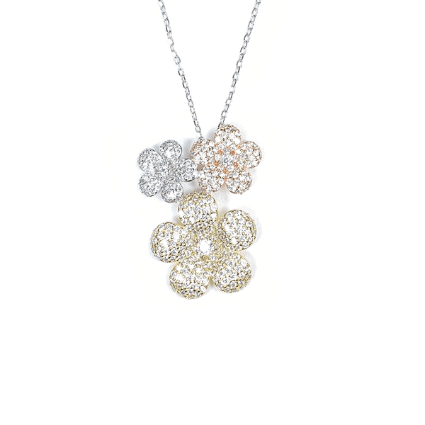 Tricolor 3 Flower Cluster Necklace With White CZ Stones Itsallagift