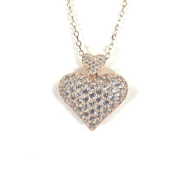 Puff Heart Necklace With Small Heart And CZ Stones Itsallagift