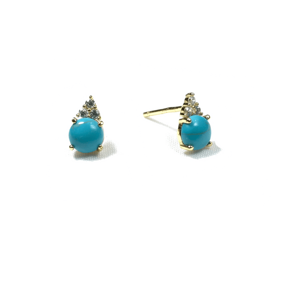 Earrings With Turquoise Stone and CZ Stones Itsallagift