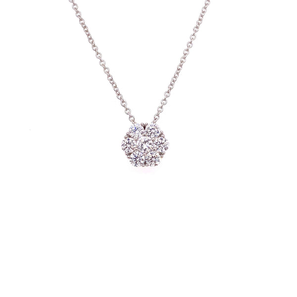 Cluster Flower Necklace With White CZ Stones Silver Itsallagift
