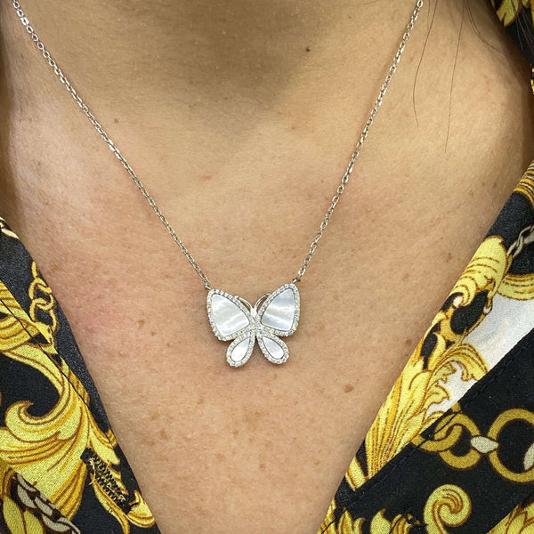 Mother of pearl butterfly necklace Itsallagift