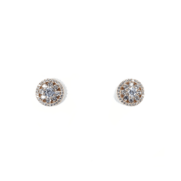 Flower Cluster Earring Studs With CZ Halo Rose Gold Itsallagift